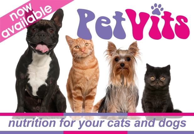 Now available - PetVits nutrition for your cats and dogs